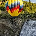 Hot Air Ballooning Over The Middle Falls At Letchworth State Par by Jim Vallee