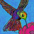 Hummingbird On Blue by Dale Moses