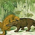 Iguanodon Biting Megalosaurus by Wellcome Images