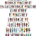 Illustration Of People Standing In Arrow Shape by Fanatic Studio / Science Photo Library