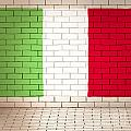 Italy Flag Brick Wall Background by Jorgo Photography - Wall Art Gallery