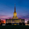 Jordan River Temple Sunset by La Rae  Roberts