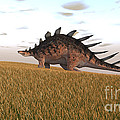 Kentrosaurus Walking Across A Grassy by Kostyantyn Ivanyshen