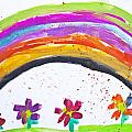 Kid's Drawing With Flowers And Colorful Rainbow by Aleksandar Mijatovic