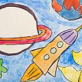Kid's Painting Of Universe With Planets And Stars by Aleksandar Mijatovic