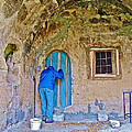 Knocking On A Blue Door Of Tufa Home In Goreme In Cappadocia-turkey  by Ruth Hager