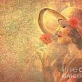 1-lady In The Flower Garden by Angela Stanton