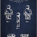 Lego Toy Figure Patent - Navy Blue by Aged Pixel