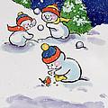 Little Snowmen Snowballing by Diane Matthes