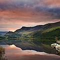 Llyn Nantlle At Sunrise Looking Towards Mist Shrouded Mount Snow by Matthew Gibson
