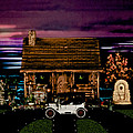 Log Cabin Scene At Sunset With The Old Vintage Classic 1913 Buick Model 25 by Leslie Crotty