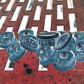 Lug Nuts On Grate Vertical by Heather Kirk