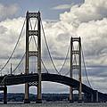 Mackinaw Bridge By The Straits Of Mackinac by Randall Nyhof