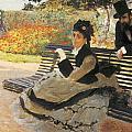 Madame Monet On A Garden Bench by Claude Monet