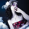 Makeup Beauty With Gothic Hair And Bloody Mouth by Jorgo Photography - Wall Art Gallery