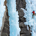 Man Ice Climbing In Ceresole Reale Ice by Paolo Sartori