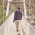 Man On Alexandra Suspension Bridge In Tasmania by Jorgo Photography - Wall Art Gallery