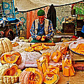 Man Peeling Squash In Antalya Street Market-turkey by Ruth Hager