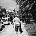 Man Rollerblading Along Ocean Drive Early Morning Art Deco District Miami South Beach Florida Usa by Joe Fox