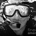 Man Snorkeling With Mask And Snorkel In Clear Water Dry Tortugas Florida Keys Usa by Joe Fox