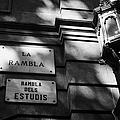 Marble Street Name Plate For La Rambla Rambla Dels Estudis Barcelona Catalonia Spain by Joe Fox