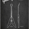 Mccarty Gibson Electric Guitar Patent Drawing From 1958 - Dark by Aged Pixel