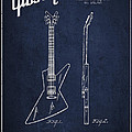 Mccarty Gibson Electrical Guitar Patent Drawing From 1958 - Navy Blue by Aged Pixel