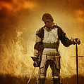 Medieval Knight On A Burning Battlefield by Lee Avison