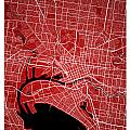 Melbourne Street Map - Melbourne Australia Road Map Art On Color by Jurq Studio