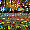Men Inside The Blue Mosque In Istanbul-turkey by Ruth Hager