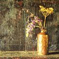 Monet Style Digital Painting Retro Style Still Life Of Dried Flowers In Vase Against Worn Woo by Matthew Gibson