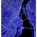 Montreal Street Map - Montreal Canada Road Map Art On Colored Ba by Jurq Studio