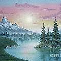 Mountain Lake Painting A La Bob Ross 1 by Bruno Santoro
