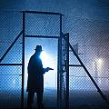 Mysterious Man With Pistol Ballpark Night Fog by Lee Avison