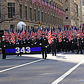 Nyc Fire Department Honoring The 343 Lost Comrades Of 911 With 343 American Flags by James Connor