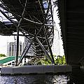 Oil Painting - View Under The Bayfront Bridge And Helix Bridge In Singapore by Ashish Agarwal
