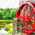Old Grist Mill Vermont Red Water Wheel by Edward Fielding