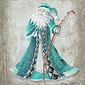 Old World Style Turquoise Aqua Teal Santa Claus Christmas Art By Megan Duncanson by Megan Duncanson
