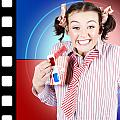Overjoyed Nerd Woman At 3d Movie Premier by Jorgo Photography - Wall Art Gallery
