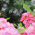 Painterly Pink Wild Roses With Green White Swirls by Beverly Claire Kaiya