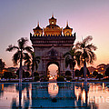 Patuxai In Vientiane Laos by Fototrav Print