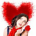 Photo Of Romantic Woman Holding Heart Shape Candy by Jorgo Photography - Wall Art Gallery