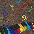Piano Wavy Border With 3d Colorful Keys And Music Note by Jit Lim