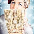 Pin-up Woman Cleaning Up In Cold Blue Winter Snow by Jorgo Photography - Wall Art Gallery