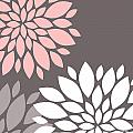 Pink Grey White Peony Flowers by Voros Edit