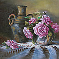 Pink Roses In Silver by Theresa Shelton