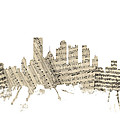 Pittsburgh Pennsylvania Skyline Sheet Music Cityscape by Michael Tompsett