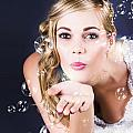 Playful Bride Blowing Bubbles At Wedding Reception by Jorgo Photography - Wall Art Gallery