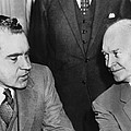 President Eisenhower And Nixon by Underwood Archives