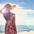 Pretty Young Woman Looking Out To Sea by Lee Avison